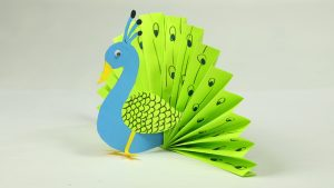 Paper Crafts for Kids – Easy Blue and Neon Peacock With Paper